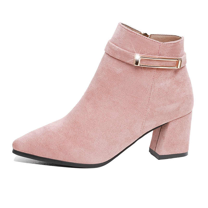 2019 kış ayakkabı kadın yüksek topuklu çizmeler moda kadın yarım çizmeler kadın parti ayakkabıları kare topuk 6cm siyah pembe A1923