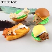 DECOCASE 4pcs Cute Hamburger Dog Gift Slime Charms Bead Headwear Flatback Crafts Ornaments Decoration Phone Case DIY Accessories