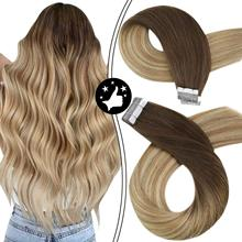 Hair-Extensions Tape Ombre Skin-Weft Human-Hair In-Machine Natural Remy To Brown