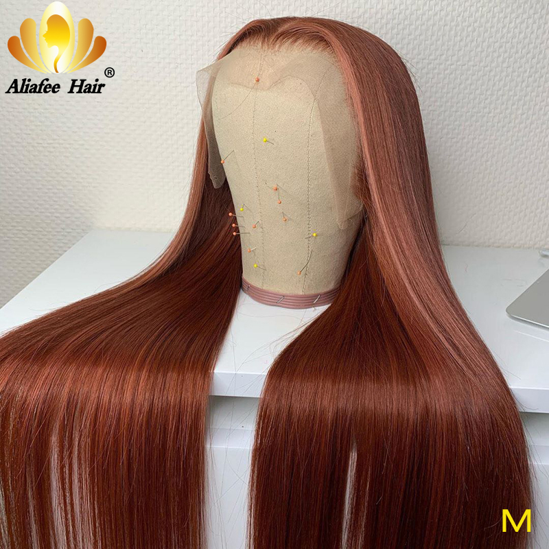 Aliafee Hair Chestnut Brown Wig Peruvian Remy Hair Lace Front Wigs 13x4 Human Hair Wigs 150% PrePlucked With Baby Hair For Women