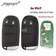 Jingyuqin 2/3 Knop Slimme Afstandsbediening Sleutel 433Mhz ID46 PCF7953 Chip Voor Fiat Ottimo 500L Afstandsbediening Originele fabriek Echt Onderdelen