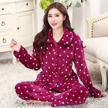 Women Pajama Sets Band  Fashion Autumn Winter Thick Flannel Pajamas Home Warm Coral Suit Animal Pyjamas Sleepwear 2019