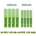 New 1.2V AA 3800mAh NI-MH Rechargeable Batteries+1.2 V AAA 3000 mAh Rechageable battery NI-MH battery