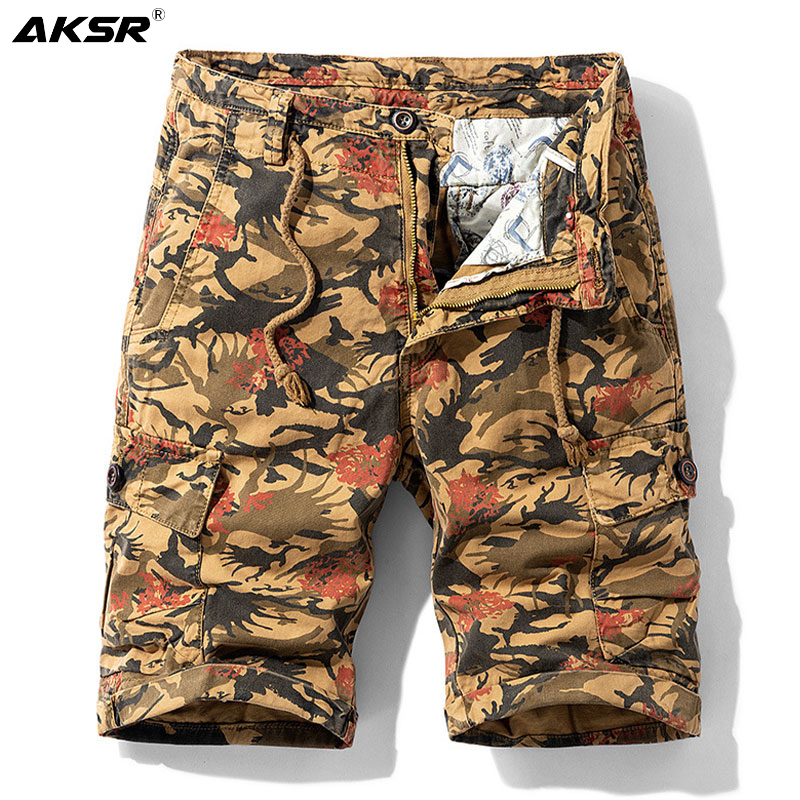 Men's Summer Shorts Camouflage Military Cargo Shorts Men Plus Size Casual Cotton Pants Knee Length Streetwear Shorts Trousers