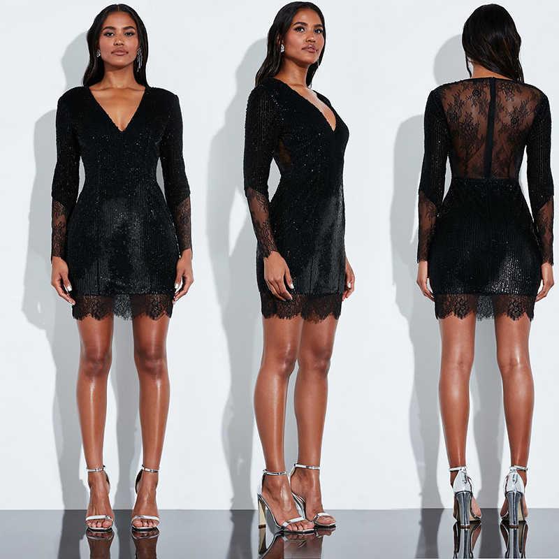 Сексуальное женское облегающее черное платье vestidos, платья для вечеринок, Украинская одежда sukienki, кружевное платье с блестками и длинным рукавом