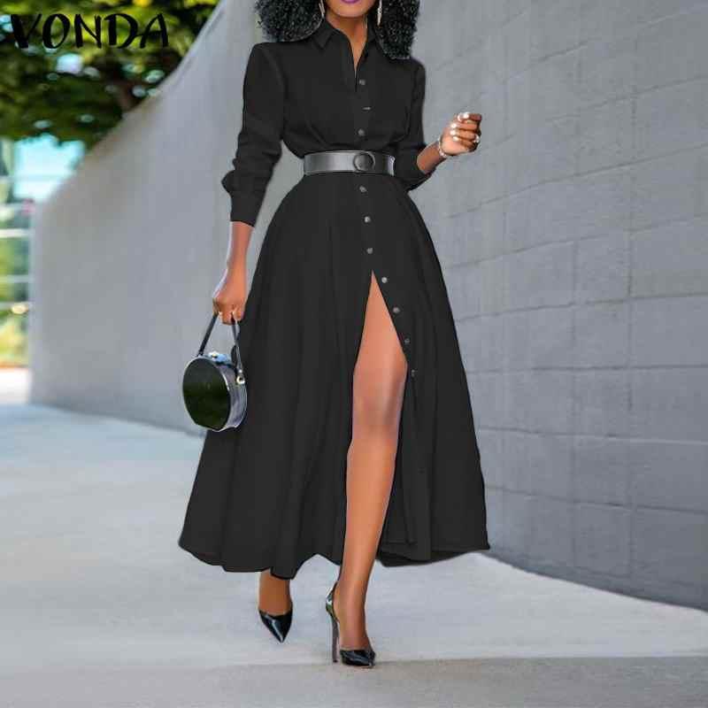 Losse Lange Mouwen Shirt Jurk 2020 Vonda Mode Womens Vintage Effen Kleur Jurken Ol Office Sexy Split Party Lange Vestidos 5XL