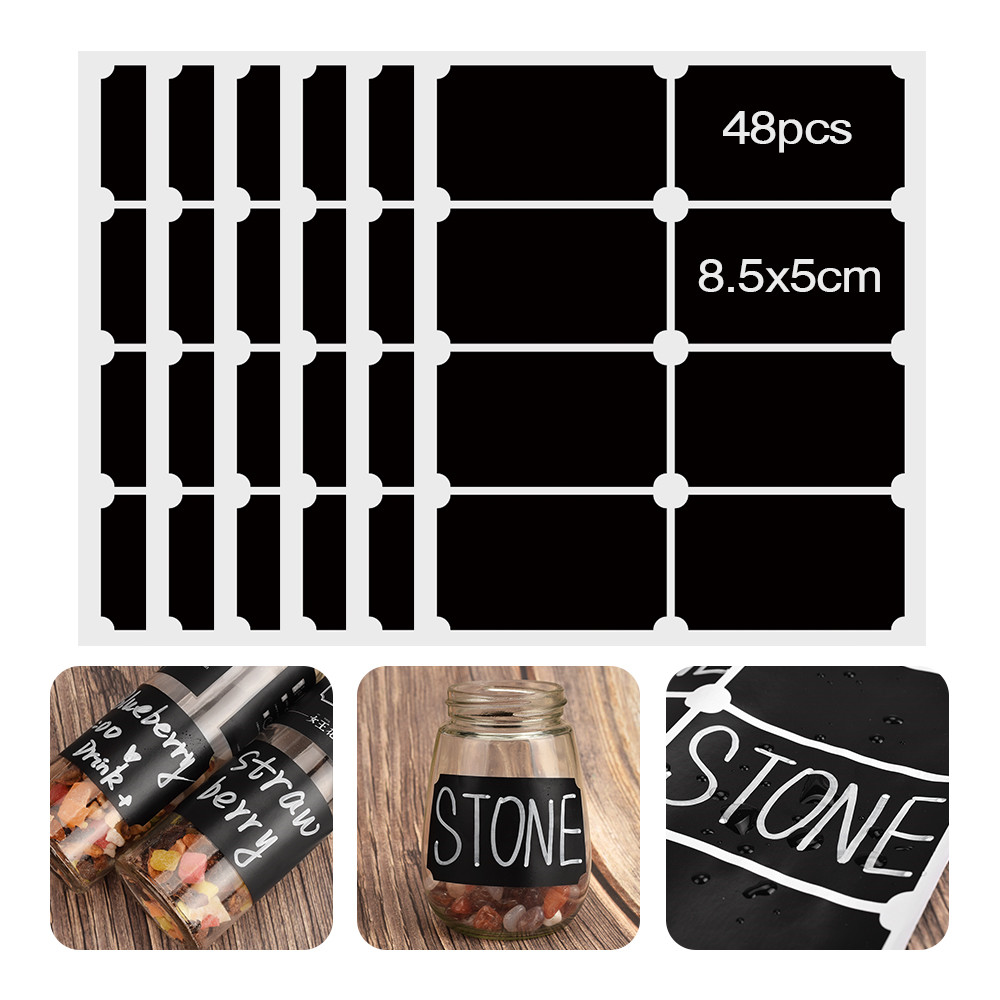 48pcs Spices Jars Stickers Removable Spice Label Sticker Kitchen Labels Stickers Storage Bottles Jar Jam Label Blackboard Tags in Wall Stickers from Home Garden