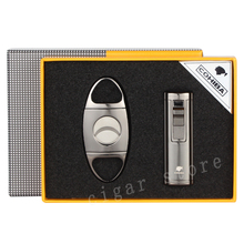 COHIBA Cool Gadgets Metal Cigar Cutter Lighter Set Sharp Scissors Windproof Cigarette Accessories