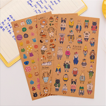 1pcs/lot Cute Japanese kraft Paper Cat Sticker Diary Decorative Planner Stickers DIY Diary Scrapbooking Seal Stickers time pc cake chronodex seal photosensitive stamp creative planner schedule diy scrapbooking making deliveries time diary record