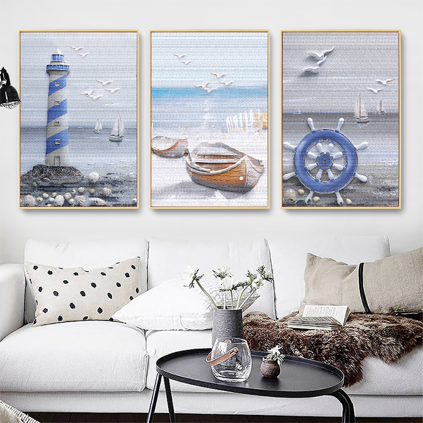 Home Art Wall Decor Sea Ship Boat Sailing Travel Oil Painting Printed On Canvas