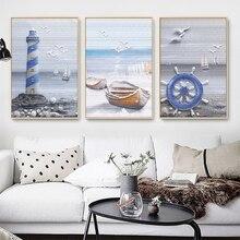 Скандинавские плакаты и принты Морской Маяк пейзаж canavs картина морской пейзаж настенные картины для украшения дома настенные художественные картины