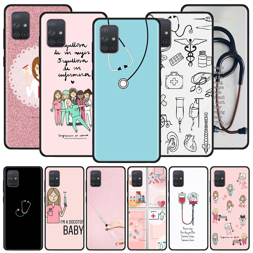 Nurse Medical Medicine Case For Samsung Galaxy A50 A70 A70s A50s A80 A40 A30 A20e A20s A10e A10 Black Soft Phone Coque