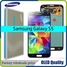 "OLED 5.1 ""LCD สำหรับ Samsung Galaxy S5 SM G900 G900 i9600 G900R G900F G900H หน้าจอ LCD เปลี่ยน Digitizer ASSEMBLY"