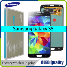 """OLED 5.1 """"شاشات lcd لسامسونج غالاكسي S5 SM G900 G900 i9600 G900R G900F G900H شاشة الكريستال السائل غيار للشاشة محول الأرقام الجمعية"""