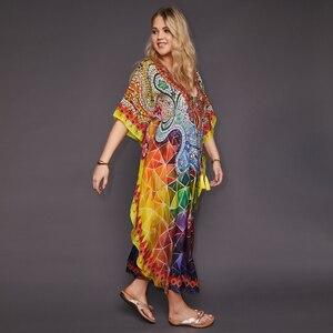Image 2 - 2020 Quick drying Bohemian Printed Tassel Summer Beach Maxi Dress Cotton Tunic Women Plus Size Beachwear SwimSuit Cover Up Q999