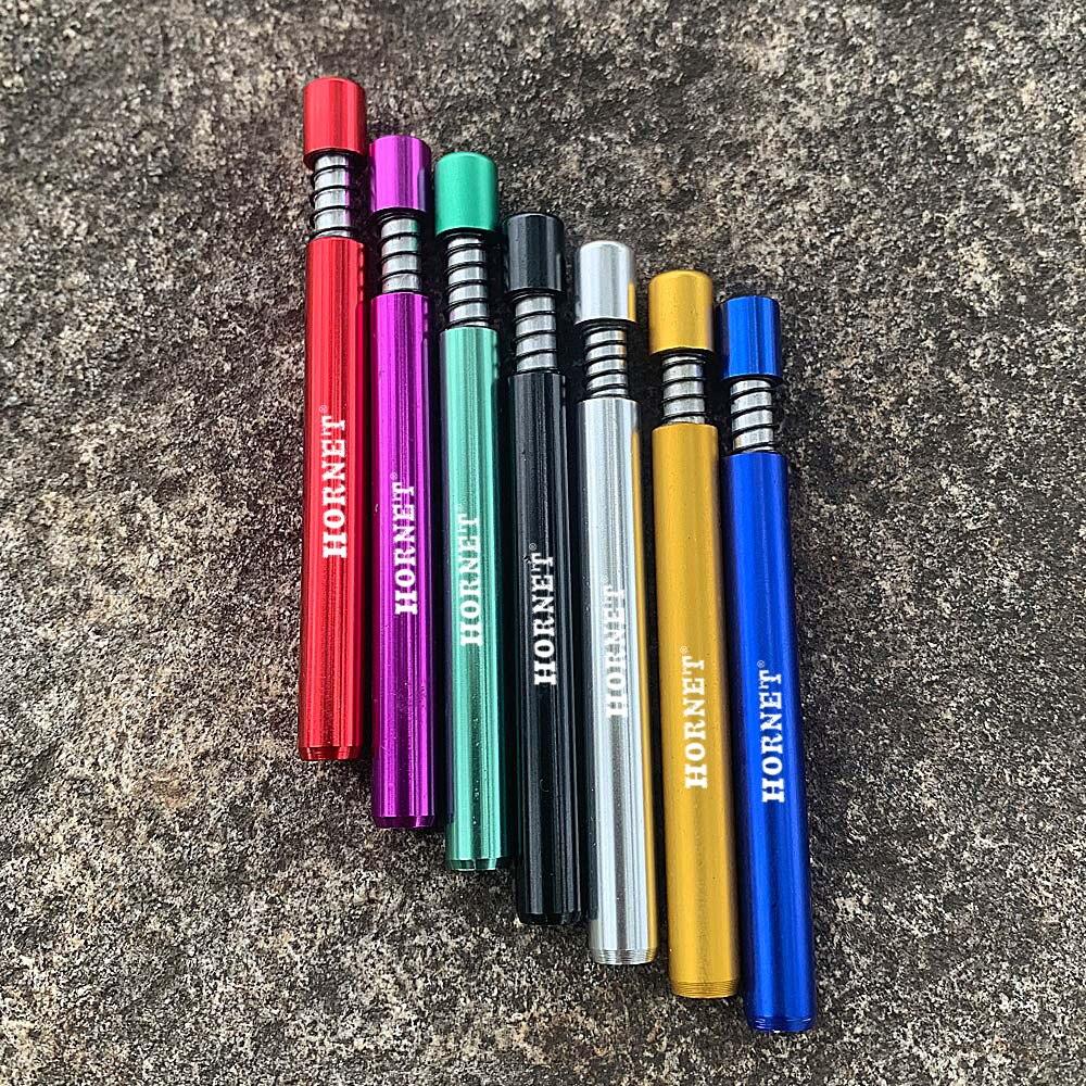 Perro rico Pipas metálicas para fumar tabaco pipa accesorios One Hitter Snuff Snorter Pipas Filtro de bomba de pistón de 1