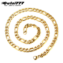 Oulai777 Men Necklace Stainless Steel Women mens gold long necklace chain Mens accessories jewelry chains on the neck male 2019