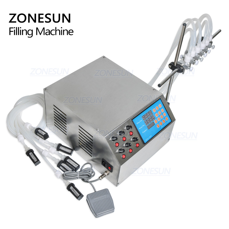Image 5 - ZONESUN Electric Digital Control Pump Liquid Filling Machine 3 4000ml For bottle Perfume vial filler Water Juice Oil With 6 Headmachine machinemachine fillingmachine pump -