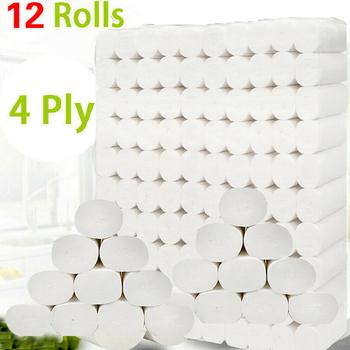 12 rolek 4 warstwy papier toaletowy papier do kąpieli w domu papier toaletowy papier podstawowy papier toaletowy z masy celulozowej papier toaletowy tanie i dobre opinie CN (pochodzenie) 12 3 x 12cm Virgin wood pulp HG20821A1 0 702kg