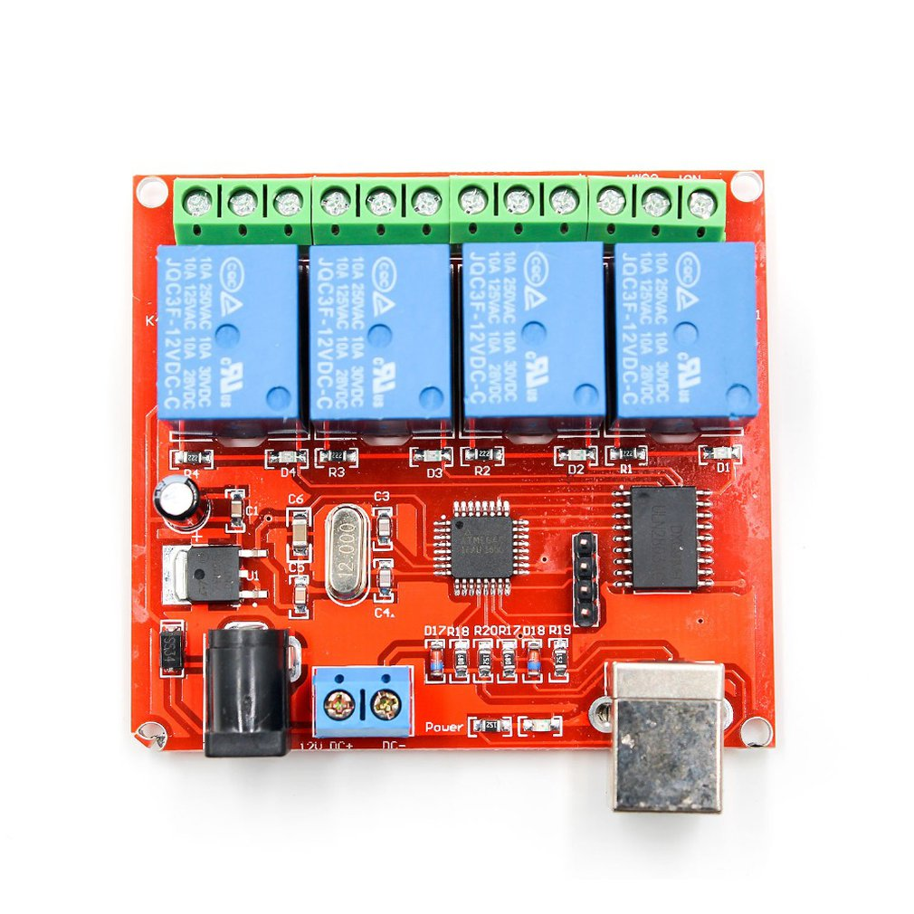 4-Channel 12V Computer Usb Control Switch Free Drive Relay Module Pc Intelligent Controller