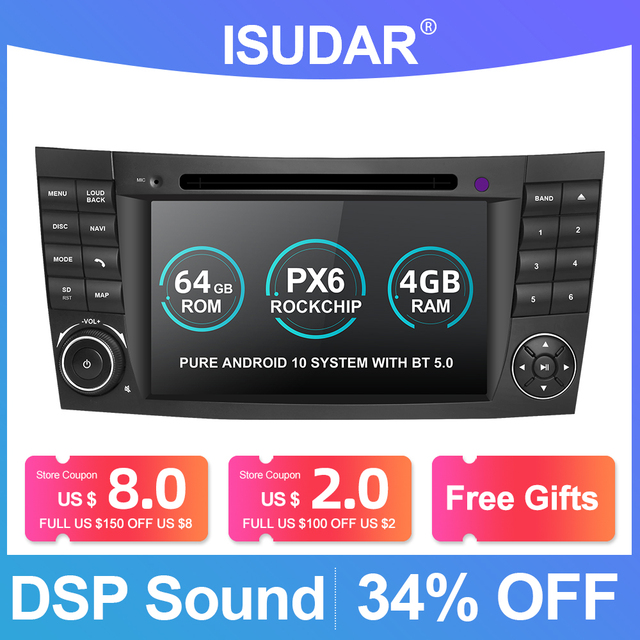 Isudar PX6 Android 10 Two Din Car Multimedia Player For Mercedes/Benz/E Class/W211/E300/CLK/W209/CLS/W219 DVD Player GPS Radio