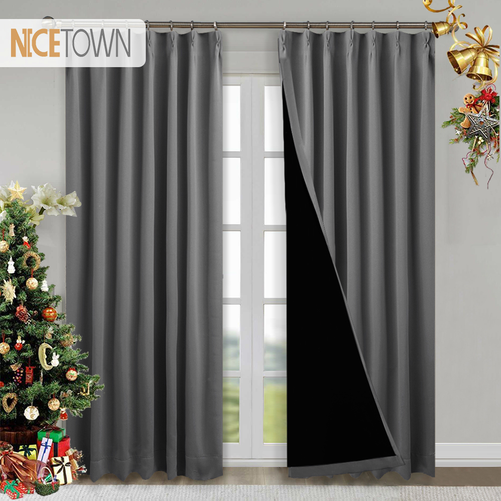 1 Pc 100% Blackout Fabric Noise Reducing Curtains Light Block Thermal Grommet Hook Up Blackout Drapes For Living Room Bedroom