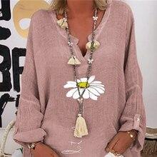Женщины одуванчик цветочные бабочка печати блузка осень с длинным рукавом блузки женщина 2020 элегантный офис Леди V-образным вырезом топы blusa размер 3XL
