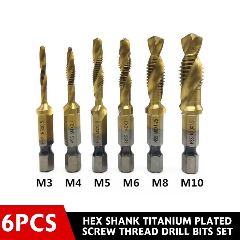 DSPIAE 6Pcs Hex Shank Titanium Plated Screw Thread Drill Bits Set Compound Tap M3 M4 M5 M6 M8 M10 Power Tool Drill Bit Parts New