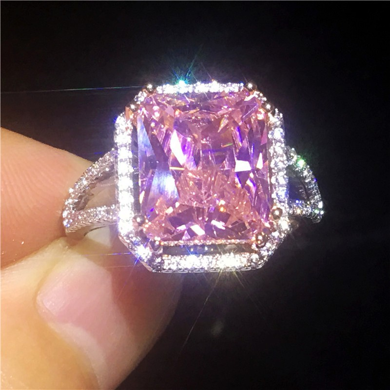 Square Pink sapphire ring 925 Sterling silver Gemstones Cz Engagement wedding band rings for women men Statement Party Jewelry