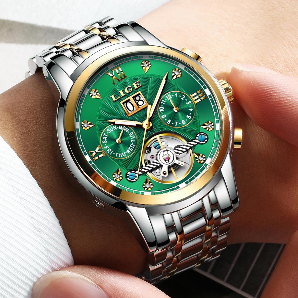 Relógio de Luxo Lige Genuíno Relógio Masculino Automático Mecânico Tourbillon Moda Aço Inoxidável Esporte Relógios
