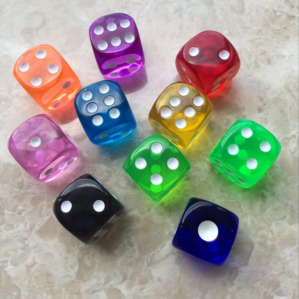 10PCS / Set Dice Set Transparent Clear Dices For Table Board Deck Game 16mm For Party Playing Games Entertainment
