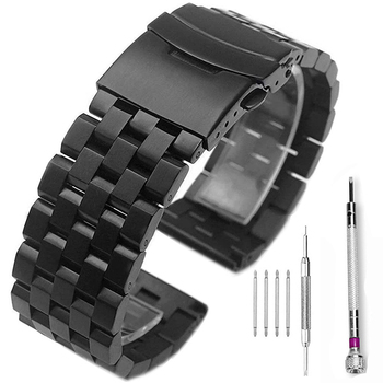 Brushed Stainless Steel Watch Band Strap 18mm/20mm/22mm/24mm/26mm Metal Replacement Bracelet Men Women Black/Silver WristBand