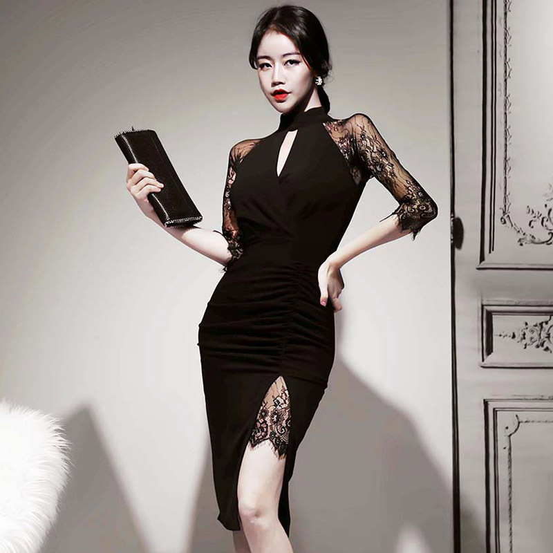 2020 New Summer Lace 3/4 Sleeves Mermaid Evening Dress Women Sexy Hollow Out Black Club Celebrity Evening Party Dress Vestido