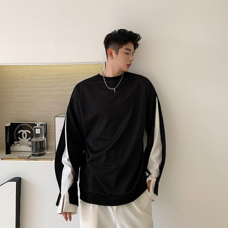 Men Women Black White Splice Pullover Sweatshirt Male High Street Hip Hop Hoodie Sweatshirt Couple Clothes