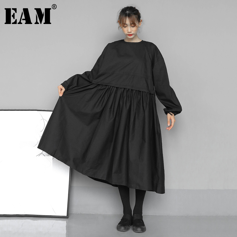 [EAM] Women Black Pleated Split Joint Big Size Dress New Round Neck Long Sleeve Loose Fit Fashion Tide Spring Autumn 2020 1N533