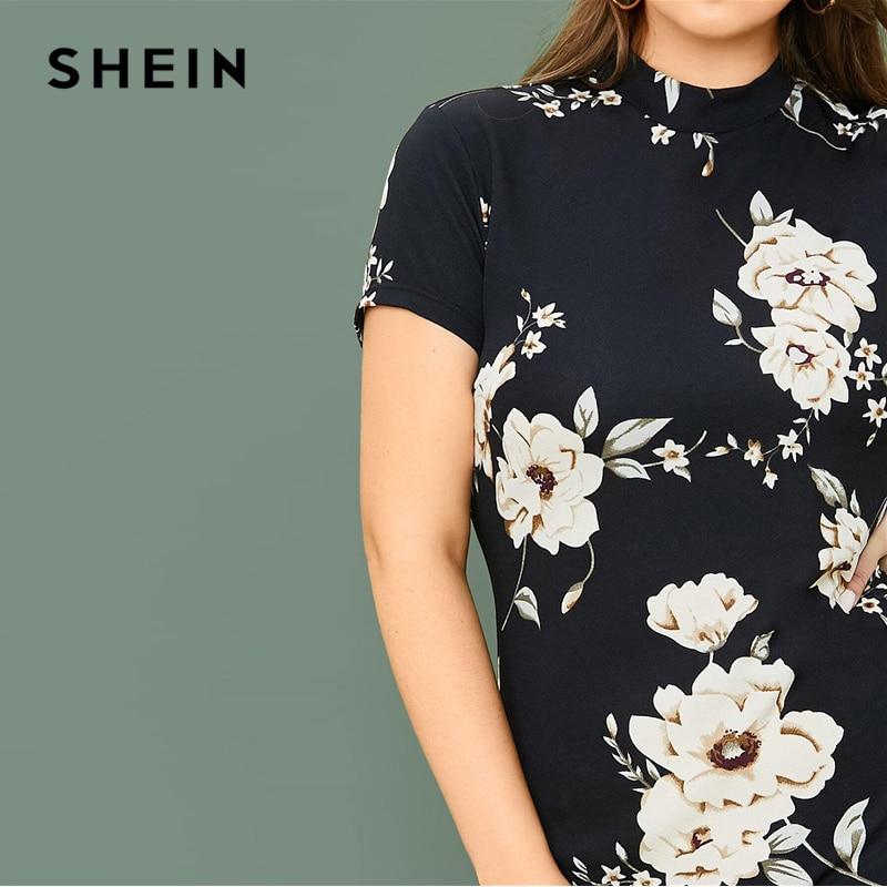 SHEIN Plus Size Mock-neck Floral Print Bodycon Dress Women Spring Short Sleeve Slim Fit Pencil Elegant Short Dresses 2