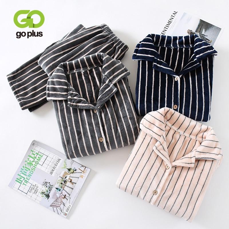 Winter Sleepwear Women's Pajamas Fleece Warm Turn Down Collar Tops Elastic Waist Pants Plus Size Striped Home Suit Clothes Woman