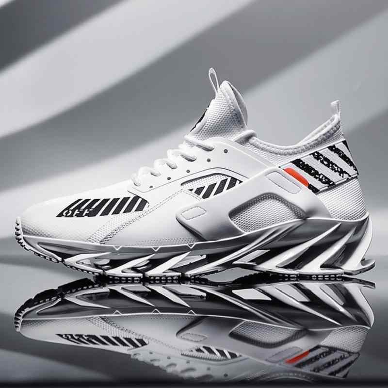 Tênis de corrida do homem lâmina inferior absorção de choque masculino respirável leve moda esporte formadores calçados