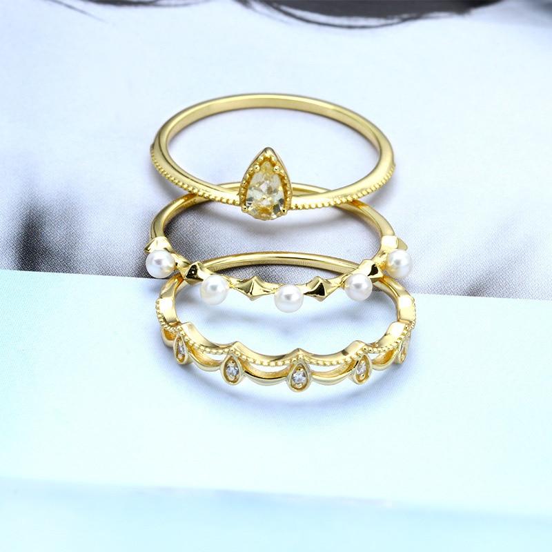 Dainty minimaliste pierre Solitaire bague en argent Sterling perle CZ anneaux empilables ensemble de 3 anneaux Knuckle mignon or mince anneaux ensemble