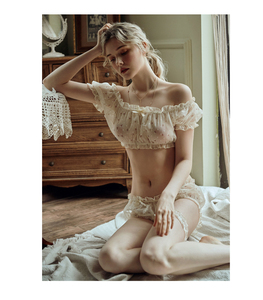 Image 2 - Conjunto de ropa interior con estampado de estrellas para mujer, top de gasa ultrafina con volantes y hombros descubiertos, pantalones cortos con aro para la pierna, pijama sexi tentación