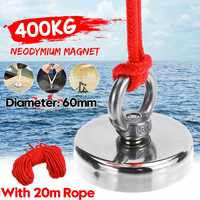 400KG D60MM Super Strong Magnet Pot Fishing Magnets Salvage Fishing Hook Magnets Strongest Permanent Powerful Magnetic+20M Rope