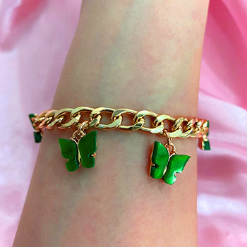 Korean Fashion Cute Butterfly Bracelets for Women Gold Silver Color 16 Acrylic Insect Wide Bracelet Geometric Statement Jewelry