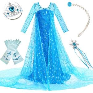 Girls Elsa Princess Dress Kids Flower Costume Set Snow Queen 2 Elza Children Birthday Halloween Party Fancy Cosplay Anna Dress(China)