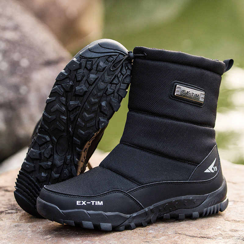 Men boots 2019 winter shoes men snow boots waterproof non-slip thick fur winter boots for -40 degrees