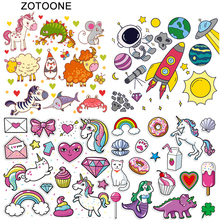 ZOTOONE DIY Heat Transfers Iron on Patches for Clothing T-Shirt Cute Cartoon Printed Appliques Kid Vinyl Ironing Stickers G