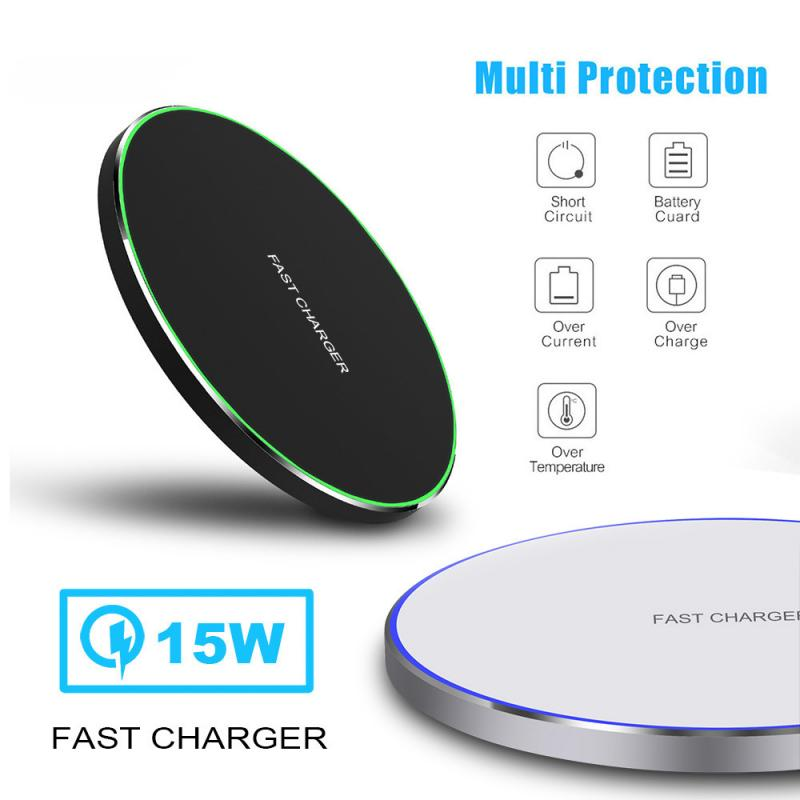 15W Fast Qi Wireless Charger Charging Dock Pad Mat For Samsung S10 iPhone 8/X/XS