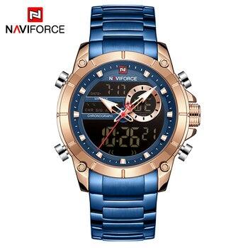 NAVIFORCE Men Military Sport Wrist Watch Gold Quartz Steel Waterproof Dual Display Male Clock Watches Relogio Masculino 9163 17