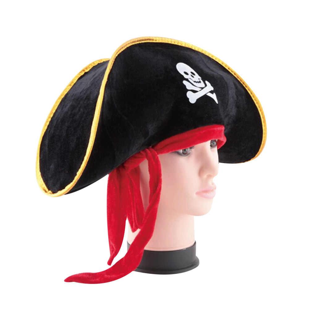 Pirate Buccaneer Rouge//Noir Crâne Chapeau Homme Femme Unisexe accessoire robe fantaisie