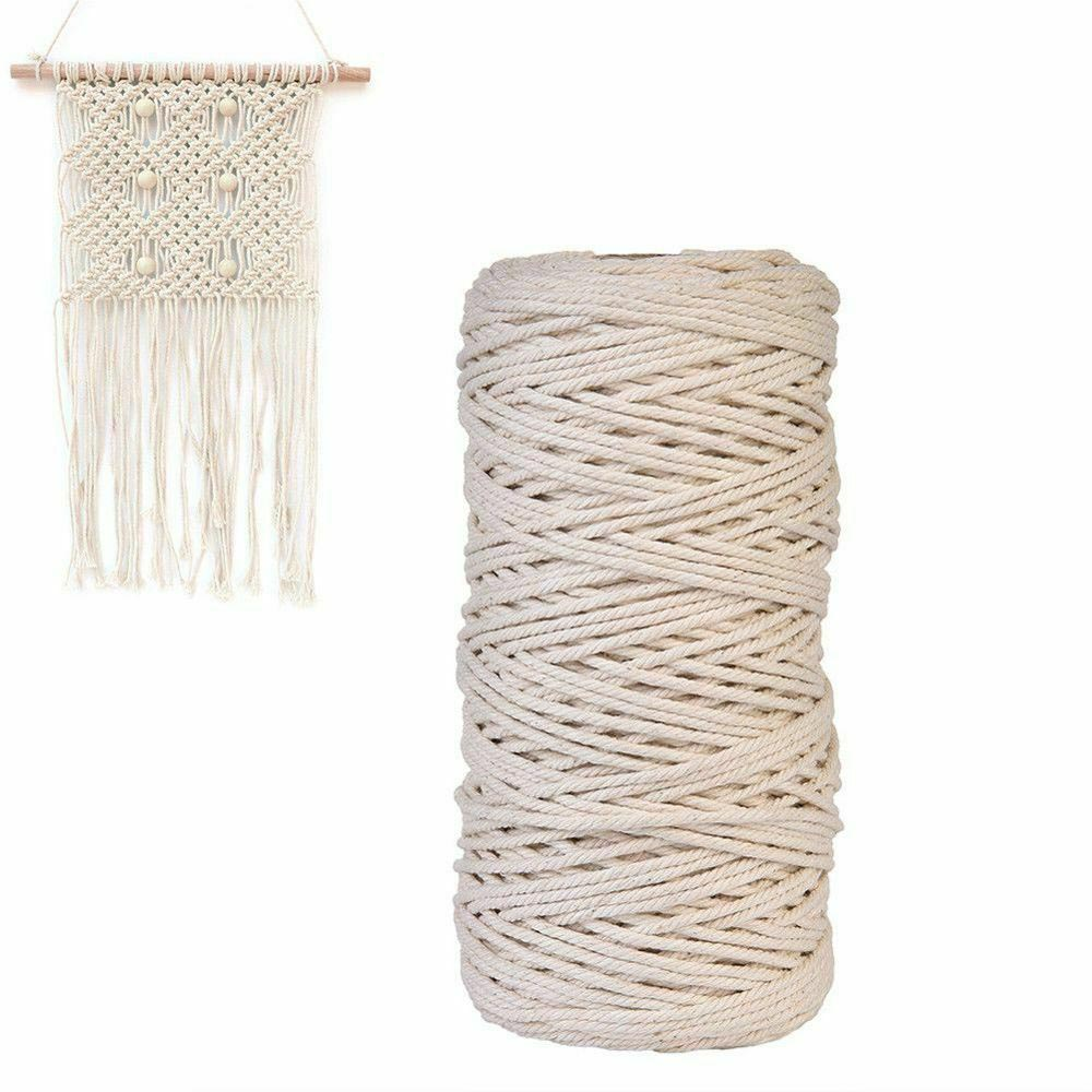 2//3//4//5mm Natural Beige Cotton Twisted Cord Rope Artisan Macrame String DIY