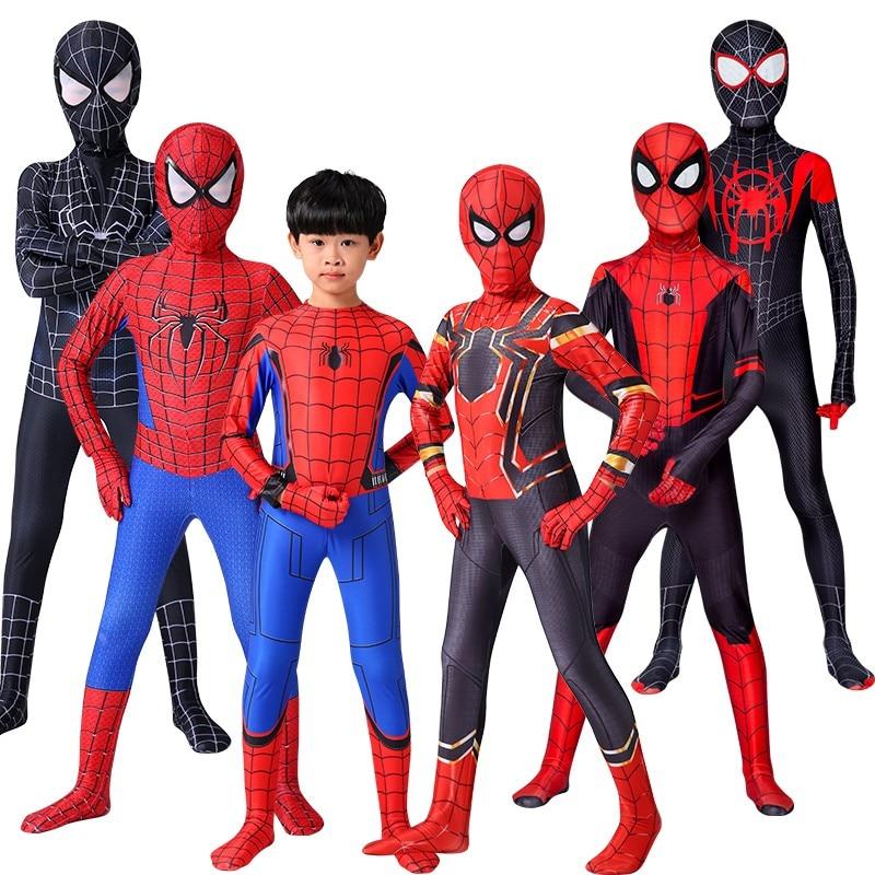 Disfraz de Spiderman de Iron Spider-boy, Zentai disfraz de Halloween de Peter Parker, traje de superhéroe para niños y adultos C39A66